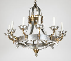 Renaissance Style Brass and Pewter 12 Arm Chandelier