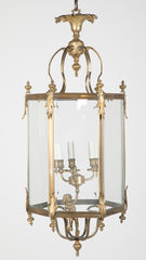 Brass Hexagonal Three Light Lantern with Putti