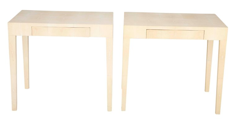 A Pair of Shagreen Parsons Console Tables in the Style of Karl Springer