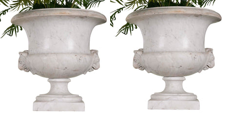 Pair Of Carrera Marble Urns
