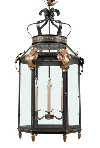 Hexagonal Iron & Gilded 6 Light Lantern