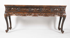 Chinese Altar Console Table with Pierced Carved Panels