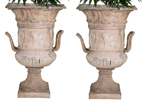 Pair of Large Fiberglass Urns