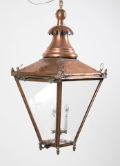 19th Century Copper Lantern with Elaborate Chimney