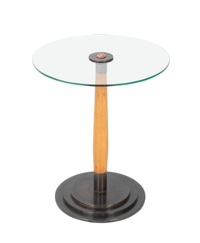 A Swedish Glass, Birch and Steel Side Table