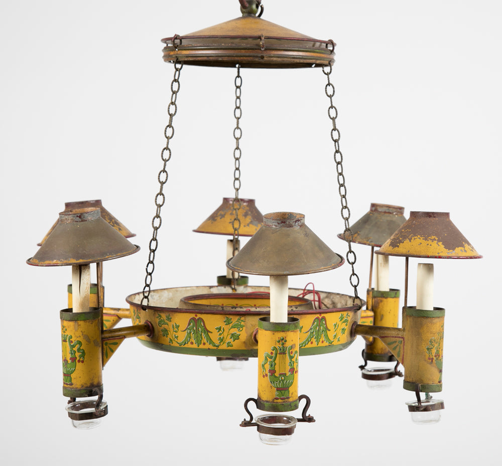 Painted Tole 6 Light Chandelier