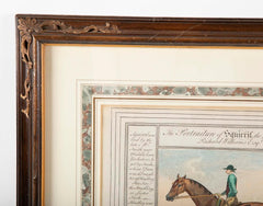 Pair English 18th Century Hand Colored Equestrian Prints