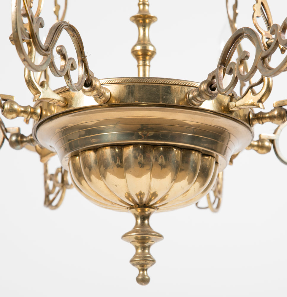 Pair of Queen Anne Style Brass Chandeliers