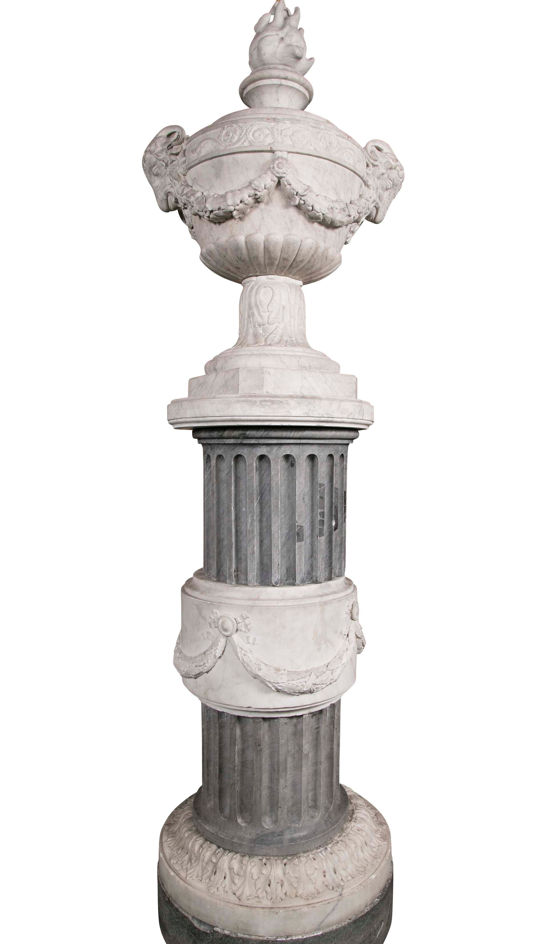 Pair of French Carved Neoclassical Marble Urns