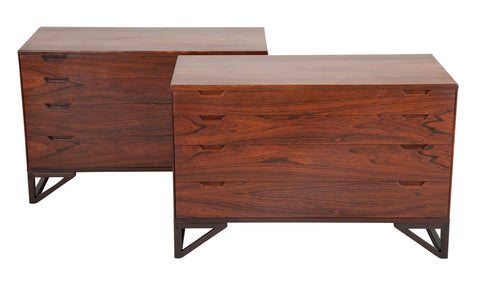 "Svend Langkilde Design Pair of Rosewood Dressers on ""Stand Base"""