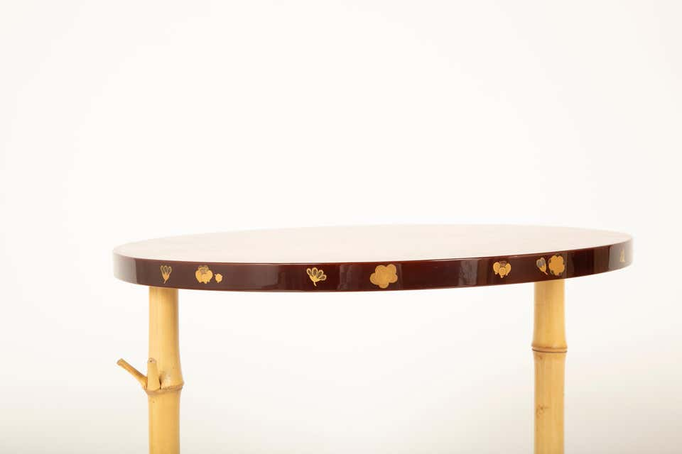A Japanese Pine, Bamboo and Lacquer Side Table