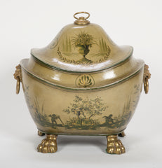 Regency Olive Green Tole Painted Coal Scuttle with Domed Lid