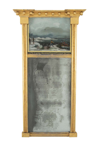 Rare American Federal Mirror with Eglomise Panel Showing the Landing at Plymouth Rock