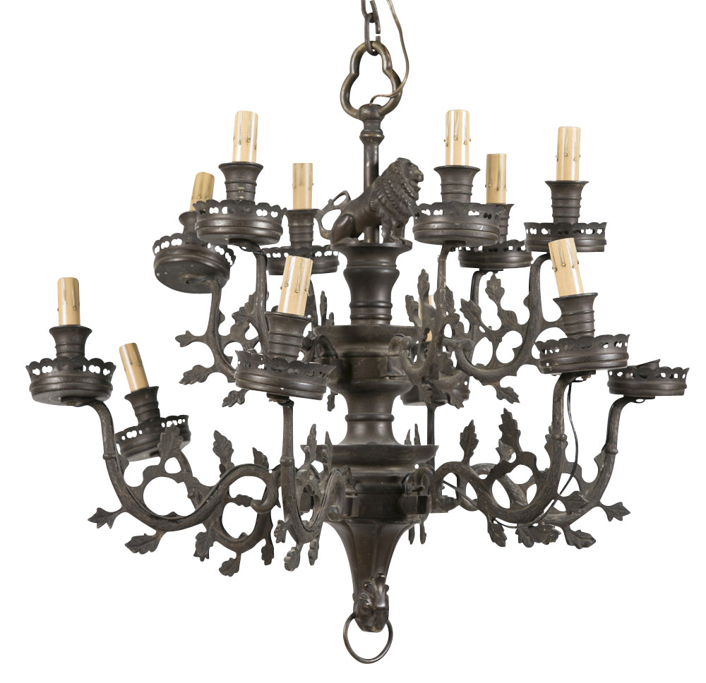 Gothic Form Brass 2 Tier 12 Light Chandelier