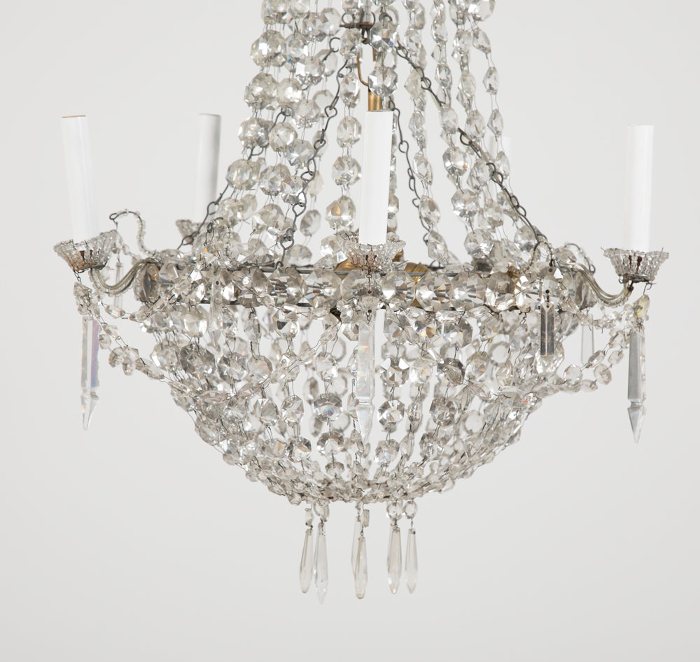 Louis XVI Style Crystal Five Arm Chandelier