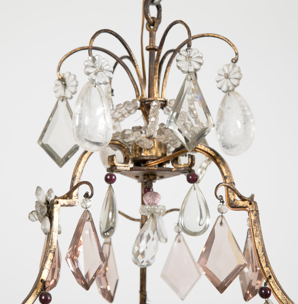 French 3 Double Light Gilded & Rock Crystal Chandelier