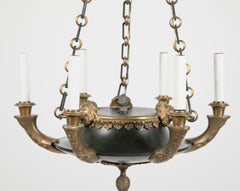 Fine French Empire Style Patinated & Gilt Bronze Chandelier