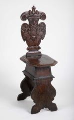 "Italian Baroque Walnut ""Sgabello"" or Hall Chair"