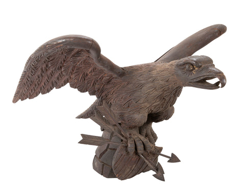 Outstanding Large Oak Carved Eagle Grasping Shield with Three Arrows in His Talons