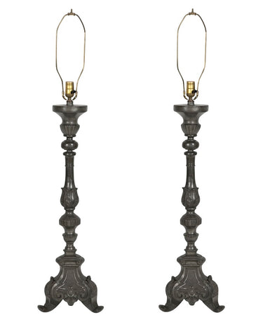Pair of French Pewter Pricket Sticks now Lamps