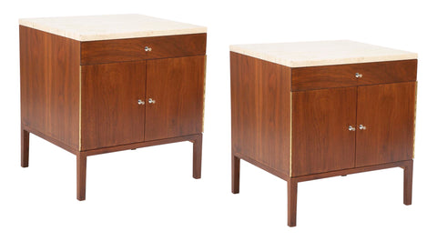 A Pair of Paul McCobb Travertine Top Side Tables / Nightstands.
