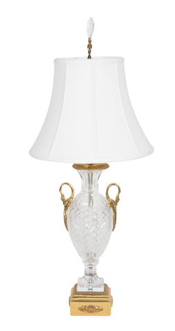 Neoclassical Style Crystal and Ormolu Lamp