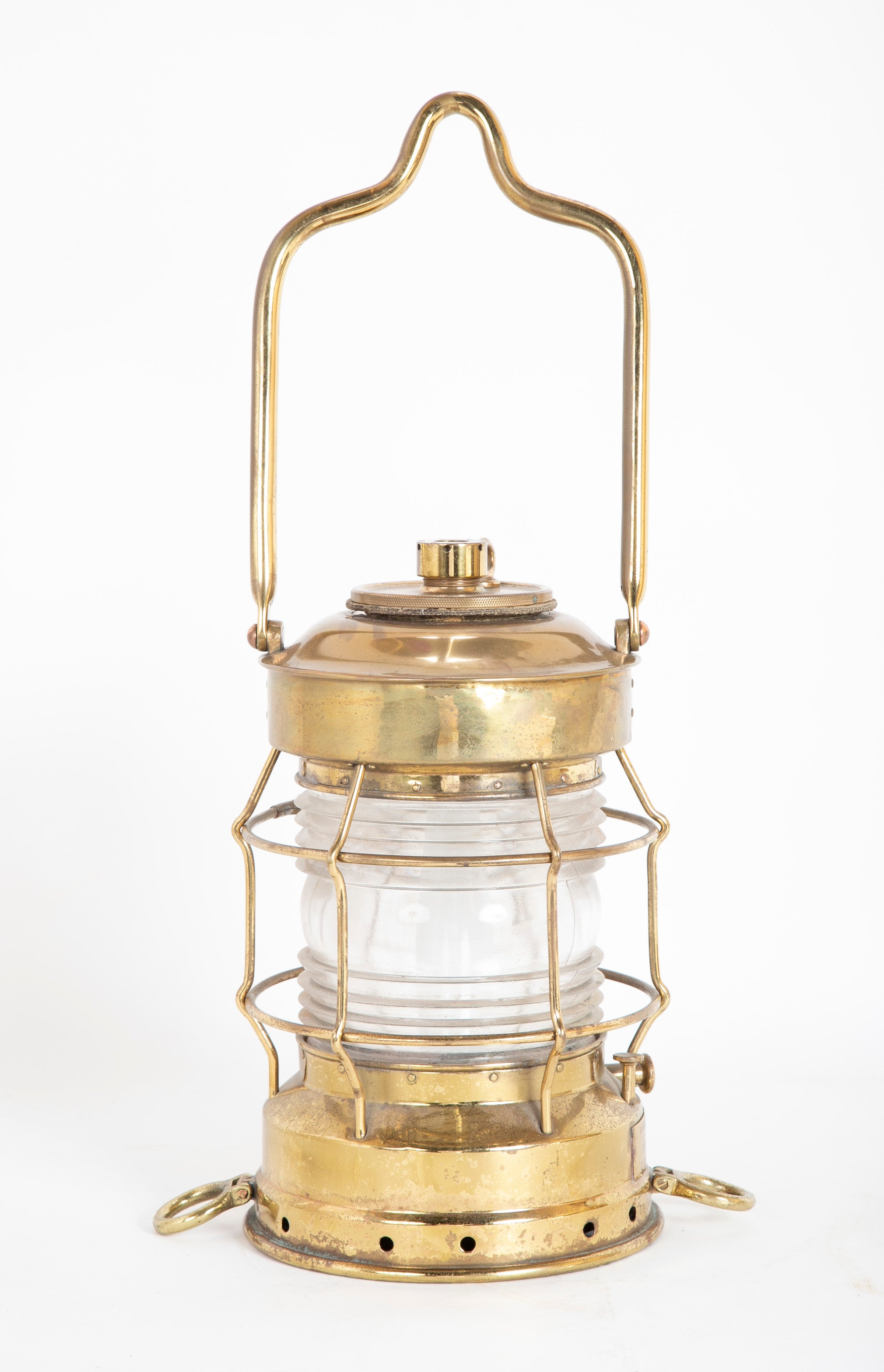 Rare Long Handled Brass Ship's Masthead Lantern