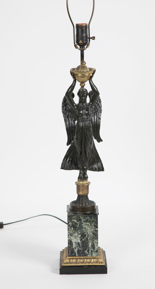"Pair of Bronze & Ormolu ""Winged Victory"" Lamps with Marble Bases"