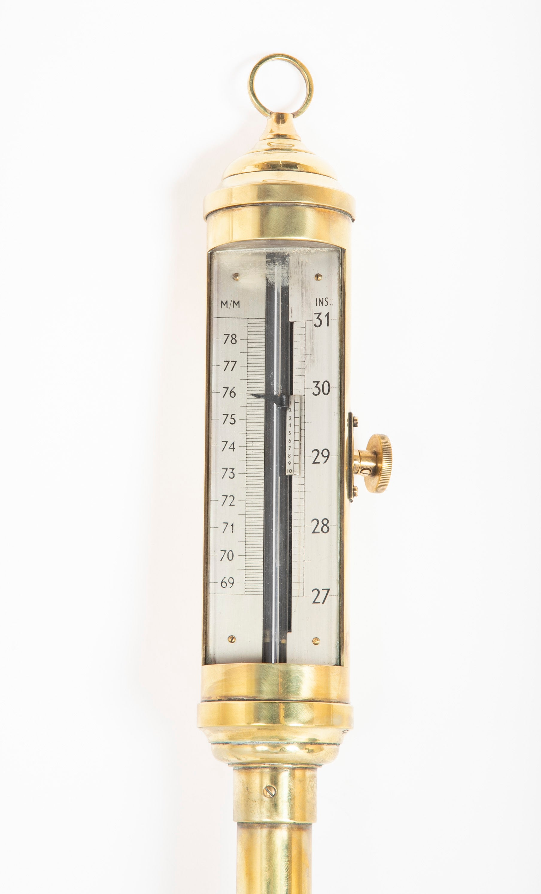 19th Century Brass Gimballed Ship Board Barometer