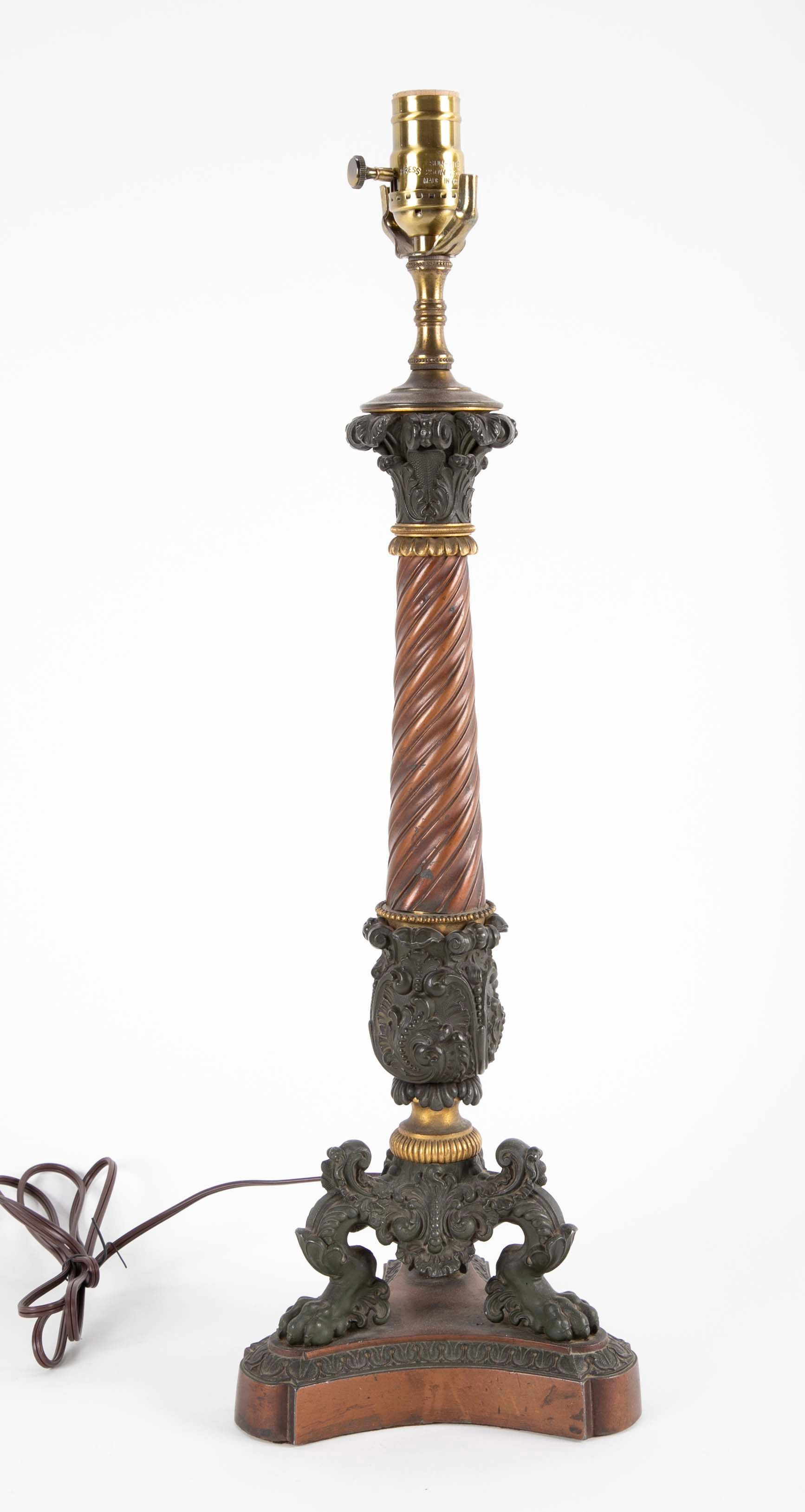 Patinated Bronze 2nd Empire Candelabra now a Lamp