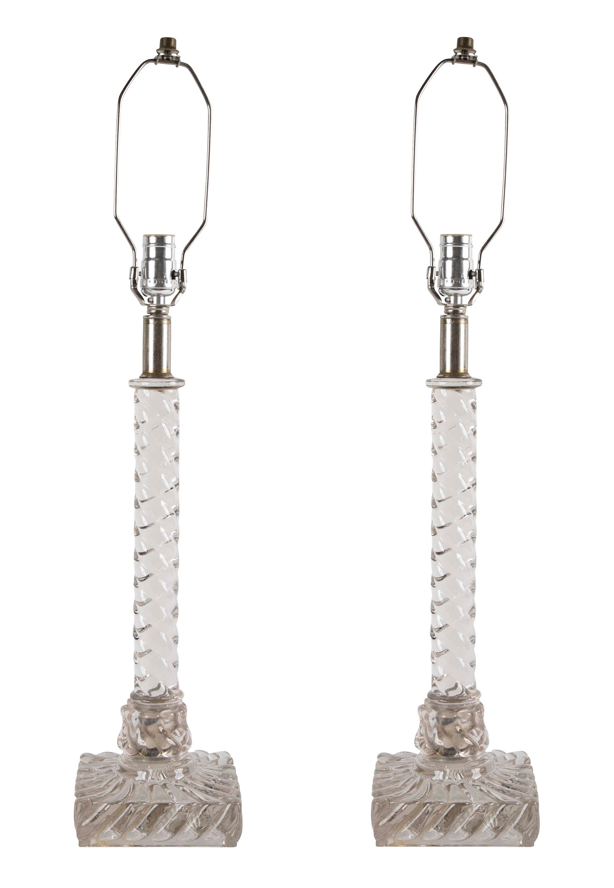 Pair of Baccarat Column Twist Lamps