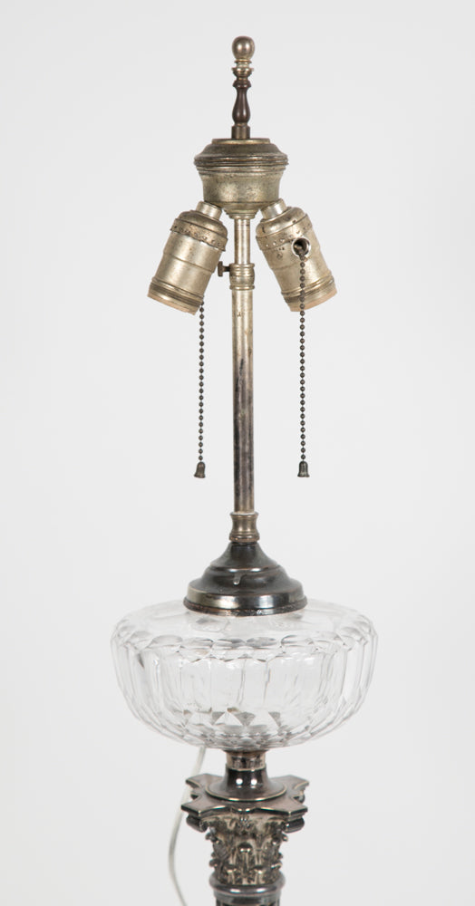 Silver-Plated English Oil Lamp