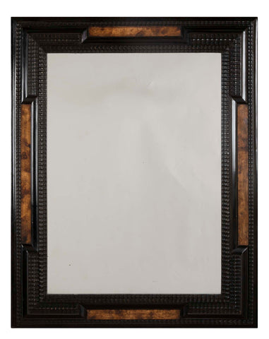 Dutch Baroque Style Mirror With Ebonized Frame And Faux Tortoise Panels