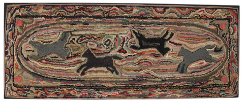American Hooked Rug of a Race Track