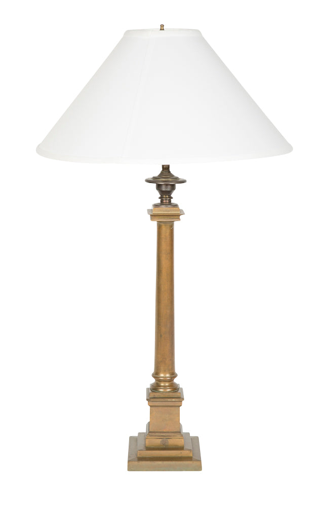 English Bronze Column Lamp