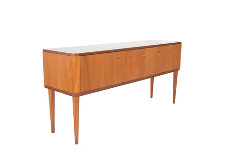 A Modern Swedish Mahogany Sideboard with Tambour Doors