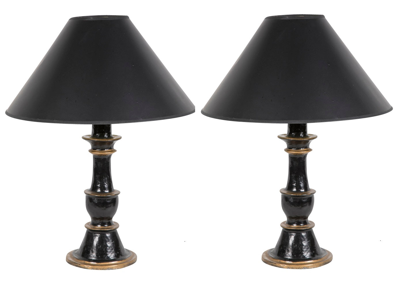 Pair of 19th Century English Painted Iron Lamps