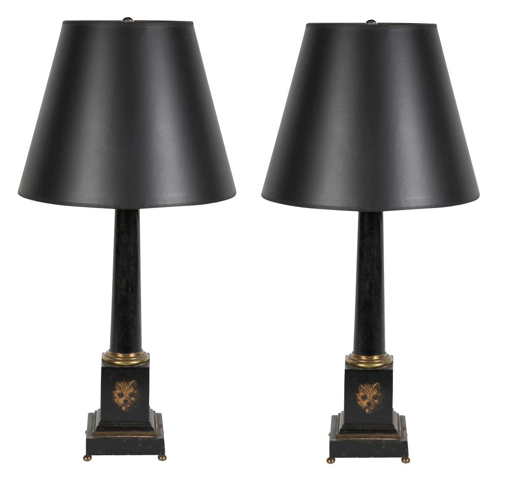 Pair of English Painted Tole Lamps