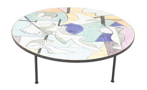 Hand Painted Tile-Top Coffee Table from the 1950's