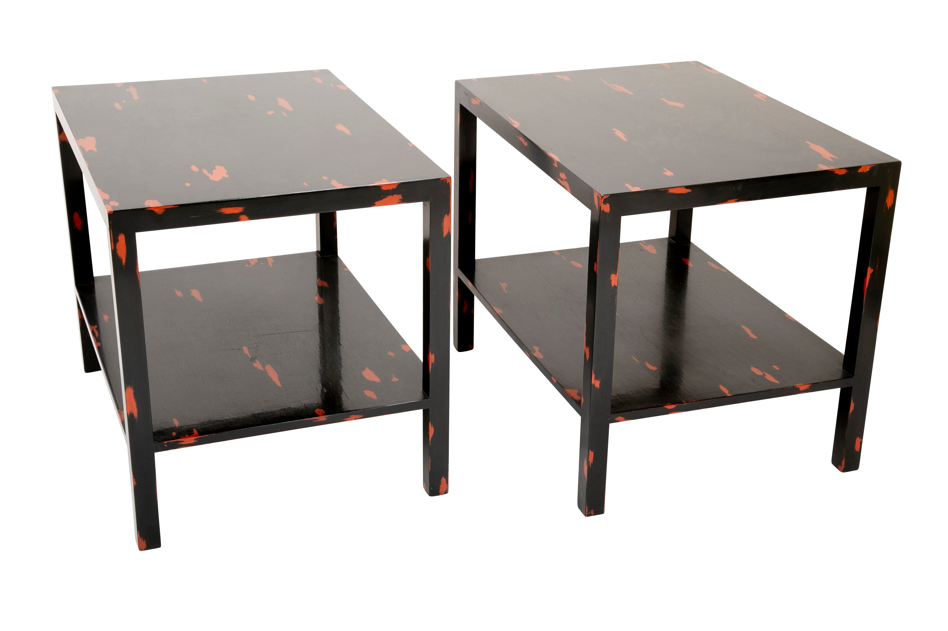 Pair of Japanese Negoro Style Side Tables