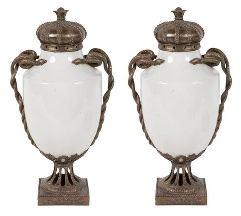 Pair of Continental Porcelain & Bronze Urns