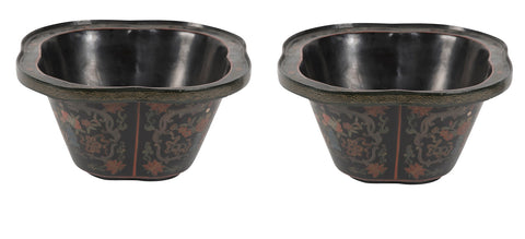 Early 20th Century Black Lacquer Papier Mache Planters