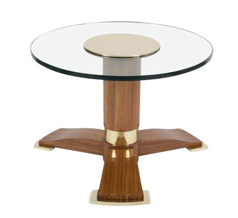 Jules Leleu Mahogany, Bronze And Glass Coffee Table
