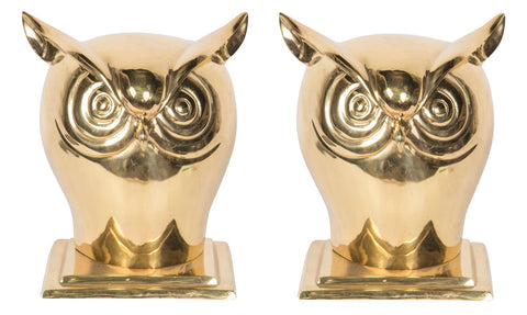 Pair of Large Brass Owls