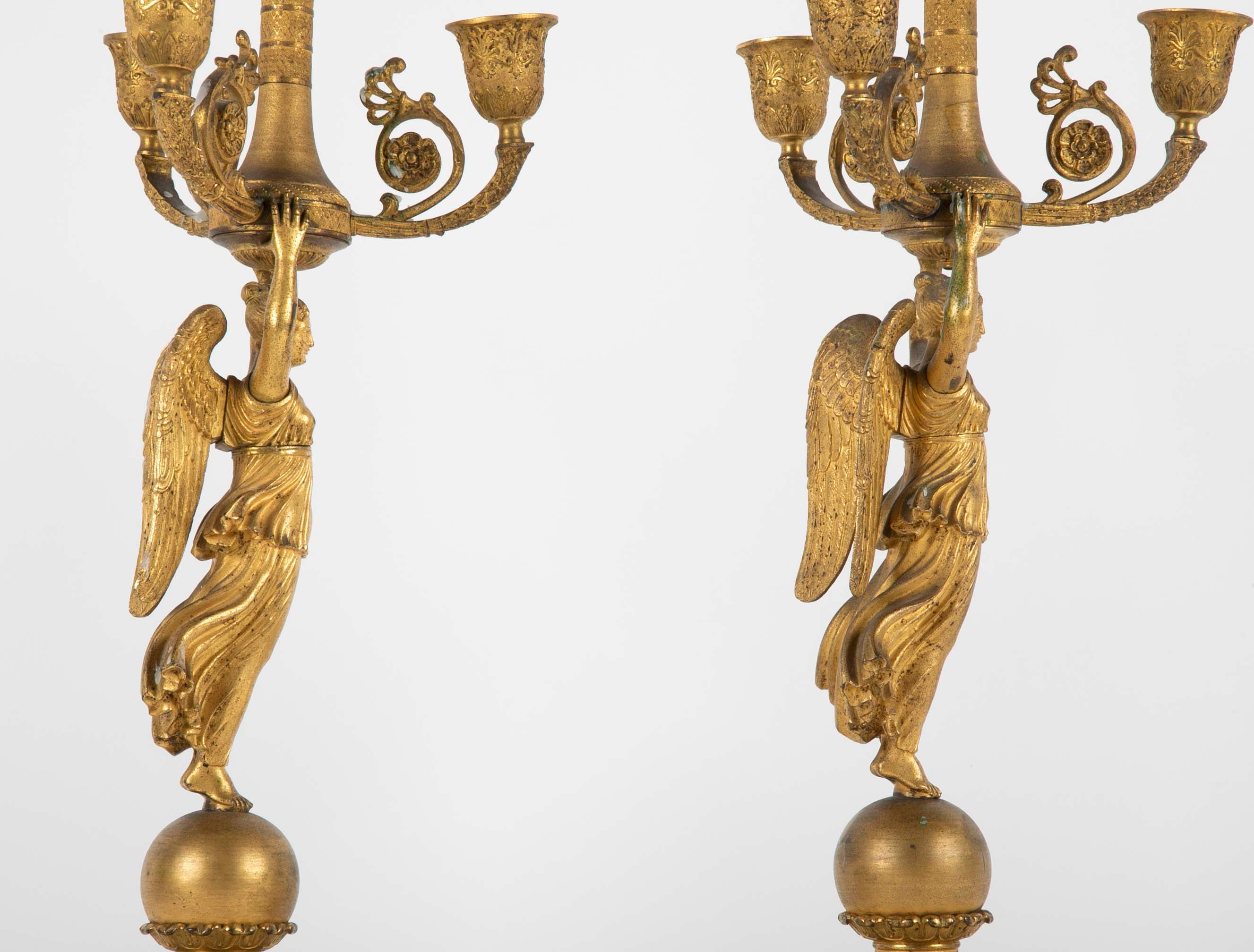Pair of Russian Empire D'ore Bronze Candelabra with Porphyry Base