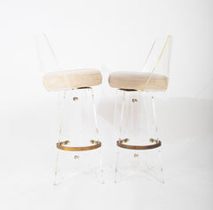 Pair of Lucite Bar Stools by Hill Manufacturing Company