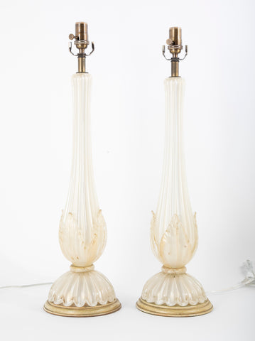 Pair of Murano Barovier & Toso Opalescent White to Clear Glass Lamps