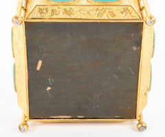 Exceptional Gilded Bronze French Silk Lined Box with Original Key