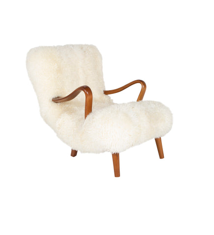 Mid-Century Danish Chair of Elm Wood and Sheepskin in the Style of Arctander