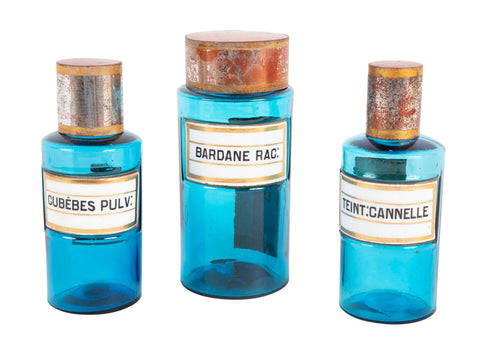 Set of Three French Glass Pharmaceutical Bottles